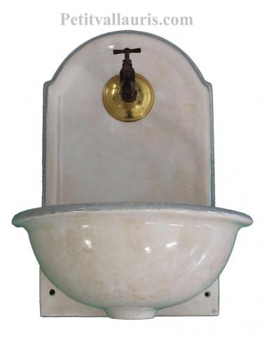 Fontaine lave main murale en céramique couleur blanc avec touche de beige et bordure grise modèle taille 2