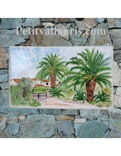 Plaque en céramique émaillée forme rectangle décor artisanal d'après photo d'entrée de maison Client Var