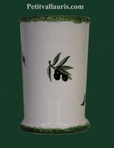 Porte ustensile cuisine décor brin olives noires