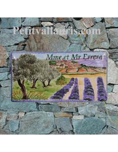 Plaque de Maison en céramique émaillée décor artisanal champs oliviers et lavandes + village provence + personnalisation