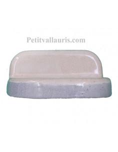 Porte savon en faience de couleur beige modèle mural avec une bordure grise
