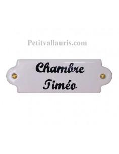 Plaque de porte de forme oblongue en faience blanche avec inscription personnalisée