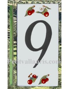 Numero de rue chiffre 9 décor cerises