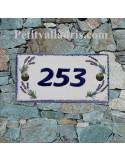 Plaque de maison faience émaillée décor brins de lavandes inscription personnalisée bleue