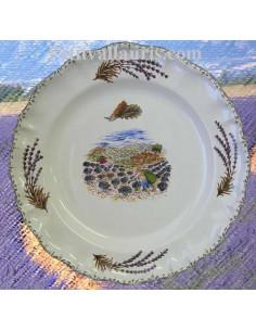 Assiette modèle Louis XV plate en faience blanche décor provence récolte des lavandes