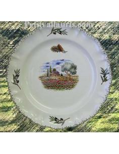 Assiette modèle Louis XV plate en faience blanche décor coquelicots et cabanon