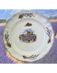 Assiette modèle Louis XV plate en faience blanche décor champ et récolte des lavandes et moulin