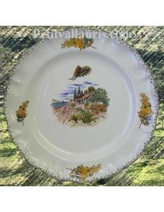 Assiette modèle Louis XV plate en faience blanche décor olivier, mer et cabanon