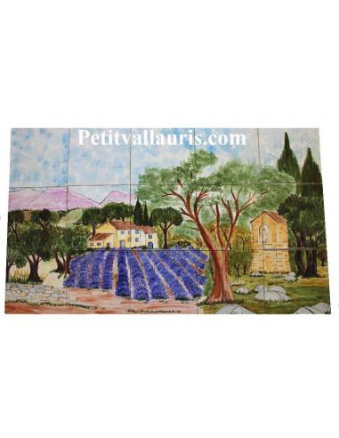 Fresque murale sur carreaux de faience décor artisanal modèle 45x75 Chêne et Oratoire