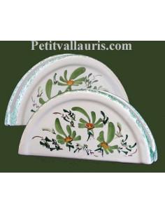 Porte serviette de table en faience blanche décor artisanal fleurs vertes