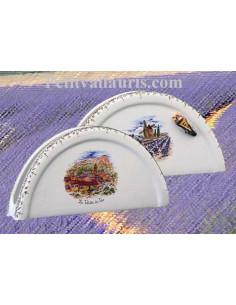 Porte serviette de table en faience blanche décor motifs paysages de provence