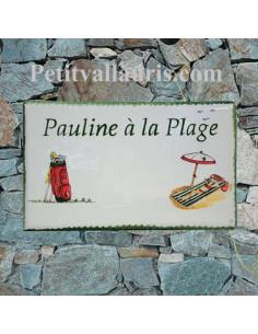 Grande plaque en céramique forme rectangle décor artisanal club et sac de golf + vacancière sur transat + personnalisation