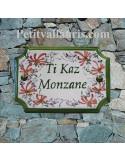 Plaque de Maison en céramique aux angles incurvés motif artisanal fleurs roses + inscription personnalisée