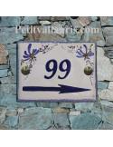 plaque de maison céramique décor fleurs bleues marquage personnalisée bleue