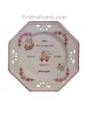 Grande assiette décorative en faience pour souvenir de naissance modèle octogonale motif ange coloris rose (fille)