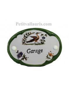 Plaque de porte modèle ovale décor tradition motif polychrome avec inscription Garage