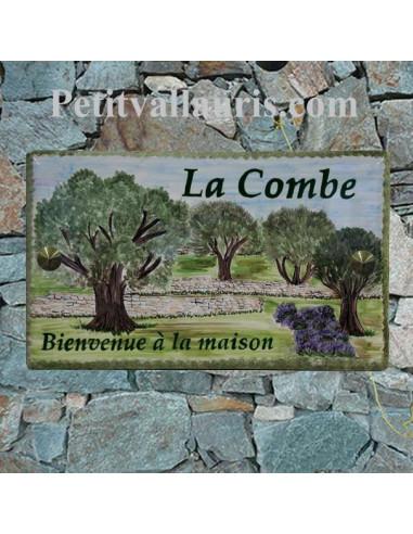 Plaque de Maison rectangle en céramique émaillée décor artisanal motif oliviers et restanques inscription personnalisée