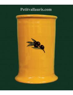 Porte ustensiles en faience pour la cuisine de couleur jaune provençal décor olives noires