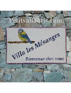 Grande plaque rectangulaire pour maison en céramique émaillée motif artisanal la mésange bleue avec gravure personnalisée