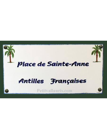 Grande plaque et fresque décorative rectangulaire motif palmier avec inscription personnalisée