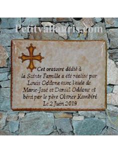 plaque pour maison en céramique motif artisanal croix provençale + personnalisation