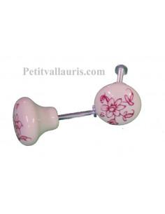 Bouton de tiroir en porcelaine blanche décor fleurs camaieux de rose (diamètre 30 mm)