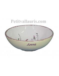 Assiette en faience blanche creuse à soupe ou à salade décor motifs artisanaux Fleurs roses avec personnalisation