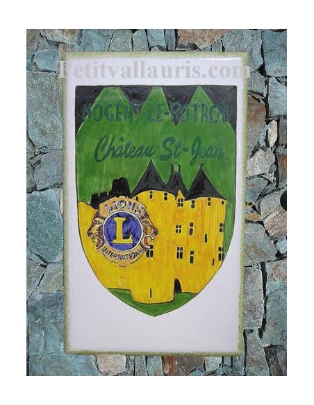 Plaque céramique décorative rectangulaire motif personnalisé Ecusson Lion's