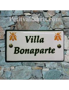 Plaque de Maison en céramique émaillée décor artisanal les abeilles impériales + inscription personnalisée
