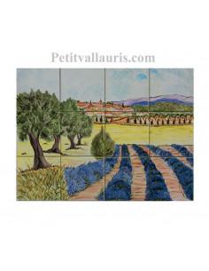 Fresque murale sur carreaux de faience décor artisanal modèle Village Champ de lavande et oliviers 30x40
