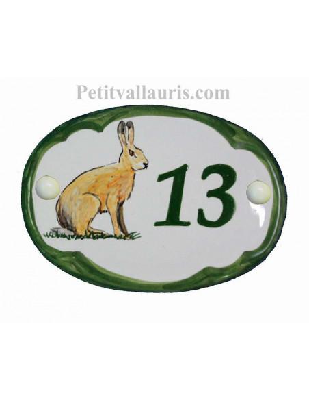 Plaque de porte en faience blanche modèle ovale motif artisanal le lièvre avec personnalisation