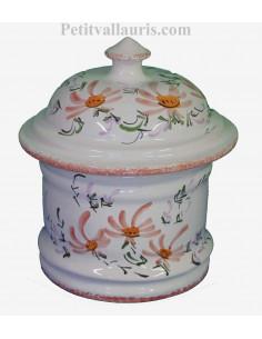 Pot de Salle de bain et à coton en faience blanche motif artisanal fleurs beiges- saumon