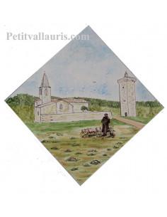 Carreau 20x20 pose diagonale avec décor artisanal d'après demande particulière paysage Drôme