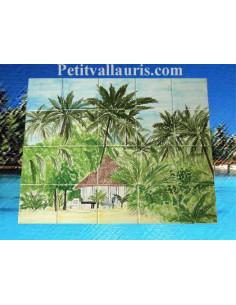 Fresque murale sur carreaux de faience décor artisanal modèle paysage Maldives 40x50