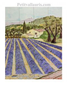 Fresque murale sur carreaux de faience décor artisanal modèle bastide + champs de lavande + mont ventoux 50x40