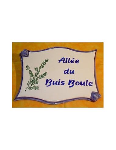 Plaque de forme parchemin décor personnalisé Buis Boule