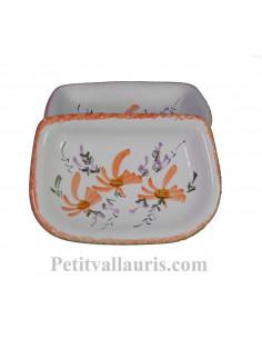 Porte savon en faience blanche à poser modèle Annie motif artisanal Fleurs oranges