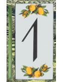 Numero de rue chiffre 1 décor Citrons