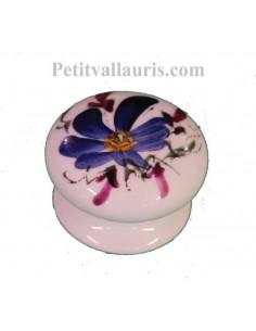 Bouton de tiroir en porcelaine blanche pour mobilier décor artisanal fleuri bleu (diamètre 35 mm)
