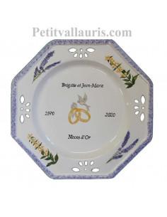Grande Assiette souvenir de Mariage modèle octogonale décor brins de lavandes et brins de gentianes