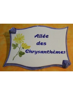 Plaque de forme parchemin décor personnalisé Chrysanthème