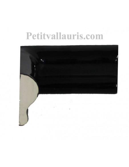 Listel d'angle droit concave modèle corniche en faience émaillée couleur unie noir brillant