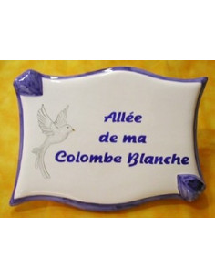 Plaque céramique de forme parchemin motif Colombe blanche avec incription modifiable