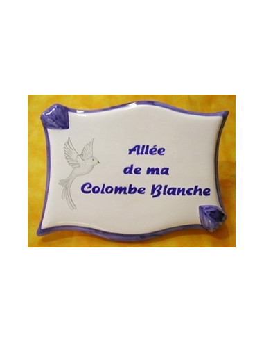Plaque de forme parchemin décor personnalisé Colombe blanche