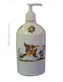 Grand distributeur de savon liquide en faience blanche décor reproduction moustiers traditionnel