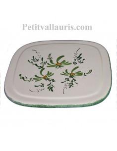 Dessous de plat en faience de forme carrée au décor artisanal fleurs vertes