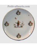 Assiette en faience blanche de table modèle rond et simple décor reproduction vieux moustiers