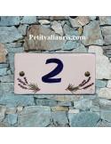 Plaque chiffre de maison faience émaillée motif brins de lavande