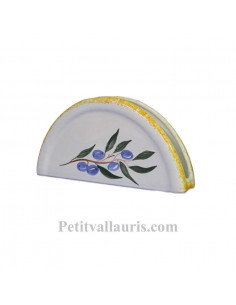 Porte serviette de table en faience blanche décor artisanal olives bleues