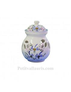 Pot conservateur à ail en faïence pour la cuisine décor artisanal fleurs bleues